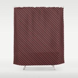 Dusty Cedar and Black Stripe Shower Curtain