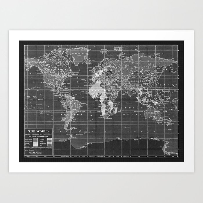 Black and white vintage world map art print by catherineholcombe black and white vintage world map art print gumiabroncs Choice Image