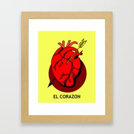 El Corazon Mexican Loteria Pop Art Framed Art Print