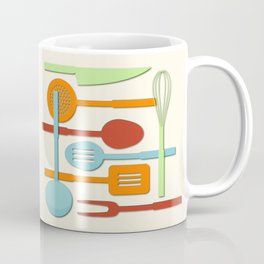 Kitchen Colored Utensil Silhouettes on Cream III Coffee Mug