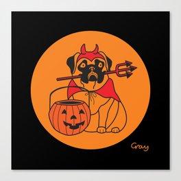 pumpkin pug Canvas Print