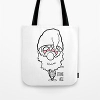 queens of the stone age Tote Bags featuring Stone Age by LSG Designs