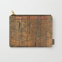 Distressed Old Map Carry-All Pouch