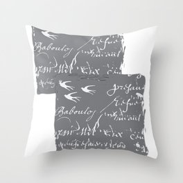 French Script on Steel Gray Throw Pillow