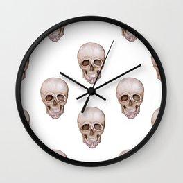 Seamless pattern of watercolor skulls. Wall Clock