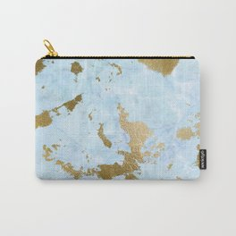 Pale Blue Gold Marble Carry-All Pouch