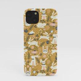 Bunnies + Teapots in Gold iPhone Case
