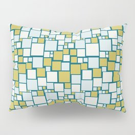 Off White, Pale Blue, Dark Yellow Funky Mosaic Squarre Pattern on Dark Teal Inspired by Sherwin Williams 2020 Trending Color Oceanside SW6496 Pillow Sham