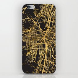 MEDELLIN COLOMBIA GOLD ON BLACK CITY MAP iPhone Skin