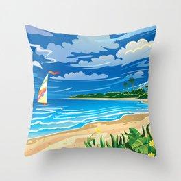 On ocean coast Throw Pillow