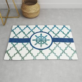 Ship Helm: Tropical Water Moroccan Pattern Rug