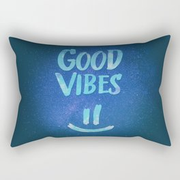 Good Vibes - Funny Smiley Statement / Happy Face (Blue Stars Edit) Rectangular Pillow