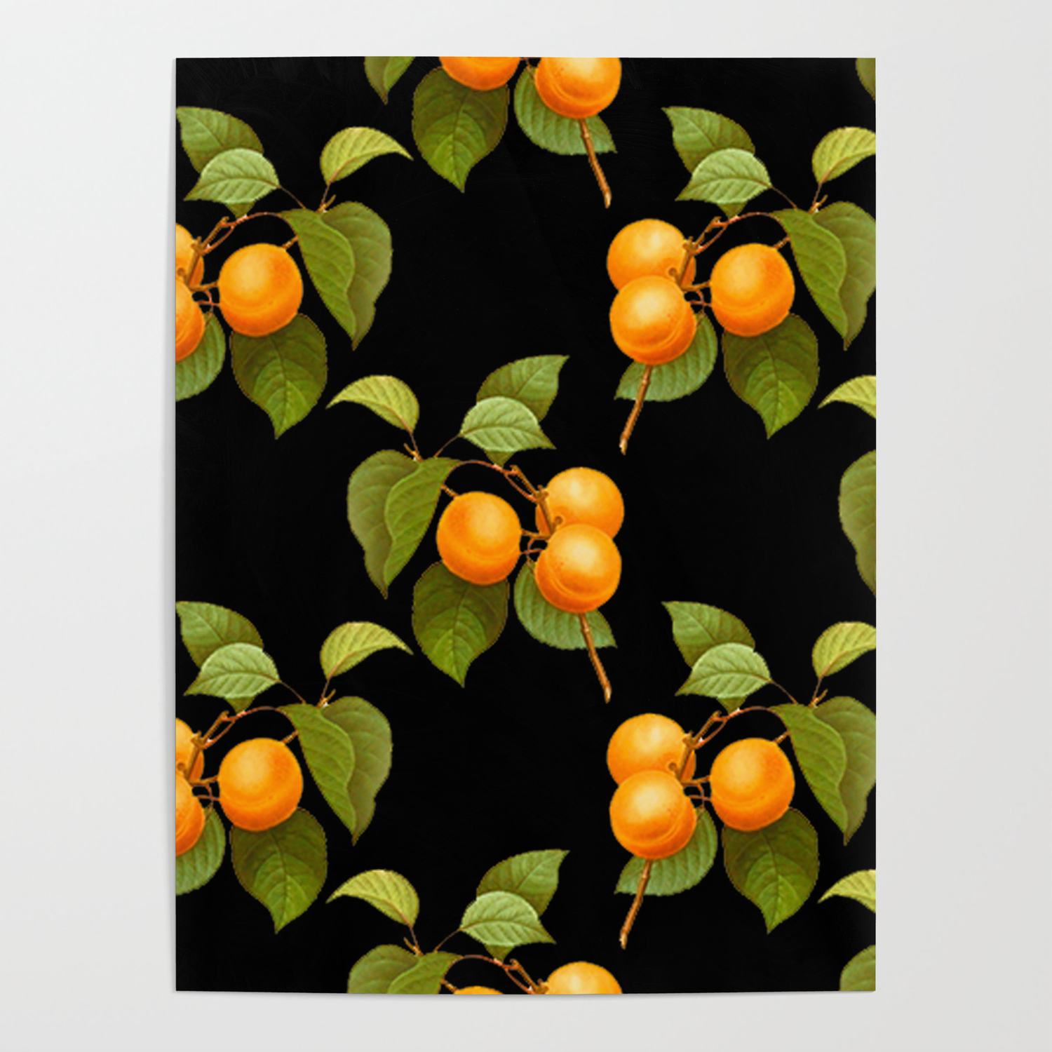 peach pattern with leaves on a black background poster by camillegc society6 peach pattern with leaves on a black background poster by camillegc