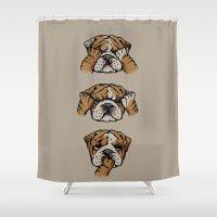 english bulldog Shower Curtains featuring Noevil English Bulldog by Huebucket