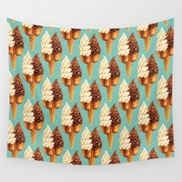 novelty Wall Tapestries featuring Ice Cream Pattern - Teal by Kelly Gilleran
