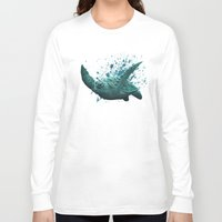"""biology Long Sleeve T-shirts featuring """"Eclipse"""" - Green Sea Turtle, Acrylic by Amber Marine"""
