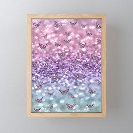 Pastel Unicorn Butterfly Glitter Dream #3 #shiny #decor #art #society6 Framed Mini Art Print