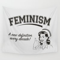 feminism Wall Tapestries featuring Feminism - New Definition - White by Anti Liberal Art