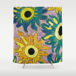 Green and orange Sunflowers. Shower Curtain