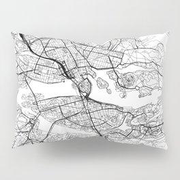 Stockholm White Map Pillow Sham