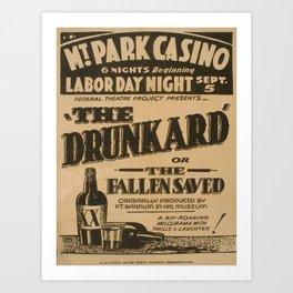 Vintage poster - The Drunkard Art Print
