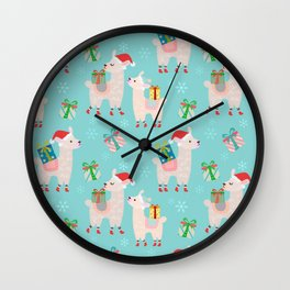 Christmas Alpacas In The Snow Holiday Pattern Wall Clock