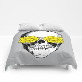 Skull and Roses | Grey and Yellow Comforters