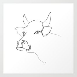 """ Animals Collection "" - Cow One Line Black And White Print Art Print"