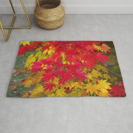 Scarlet and gold autumn maple leaves Rug