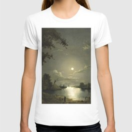 Classical Masterpiece Moonlit River Landscape with a Town by Abraham Pether T-shirt