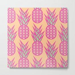Geometric Pineapple Pattern Metal Print