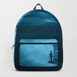 Surreal Fishing Lake Night Mystical Fisher Backpack