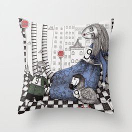 William the Conqueror and the 9 Feet Tall Caucus Race Throw Pillow