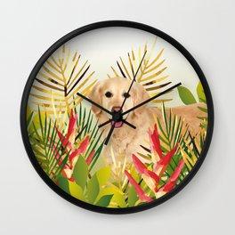 Golden Retriever Dog Garden Wall Clock