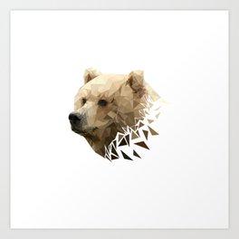 Low Poly Bear--White Art Print
