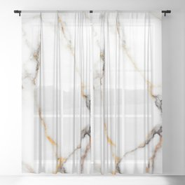 White gray and rose-gold faux marble Sheer Curtain