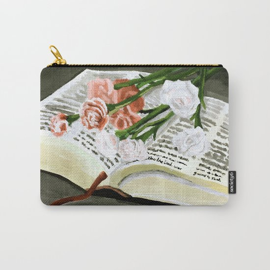 Flowers on Bible Painting Carry-All Pouch