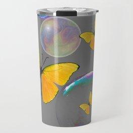 IRIDESCENT BUBBLES & YELLOW BUTTERFLIES GREY ART Travel Mug