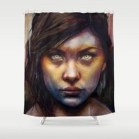 michael clifford Shower Curtains featuring Una by Michael Shapcott