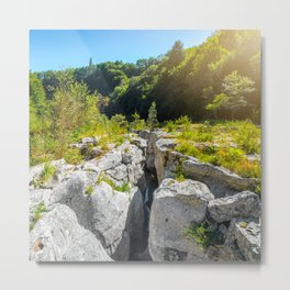 Extreme terrain eroded rock formation from waterhole landscape in France Metal Print