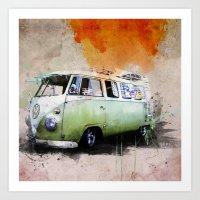 volkswagen Art Prints featuring vintage volkswagen by d.ts