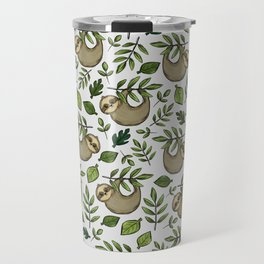Little Sloth Hanging Around, Cute Sloth Print, Gray and Green, Hand-Drawn Sloth Travel Mug