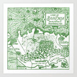 Map of Bohemia (green) Art Print