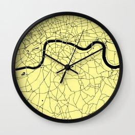 London Yellow on Black Street Map Wall Clock