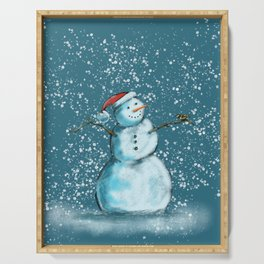 Frosty snowman and his little bird Serving Tray