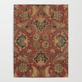 Flowery Boho Rug V // 17th Century Distressed Colorful Red Navy Blue Burlap Tan Ornate Accent Patter Poster