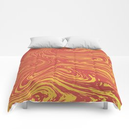 Red marble pattern with golden tint Comforters