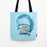 finding nemo Tote Bags featuring just keep swimming.. finding nemo by studiomarshallarts