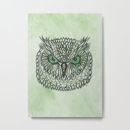 Owl - Green Metal Print