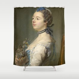 Woman and cat Painting by Jean-Baptiste Perronneau Shower Curtain